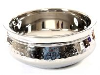 Stainless Steel 1400 ml Double Wall Hammered Moroccan Dish Bowl. Made in India.