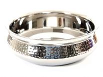 Stainless Steel 1800 ml Double Wall Hammered Moroccan Dish Bowl. Made in India.