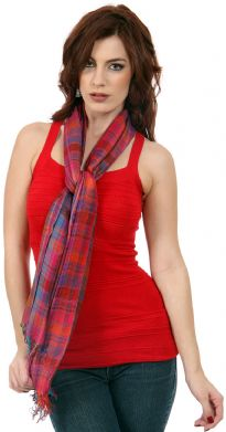 This vibrant & bright viscose scarf can be teamed up with any outfit to give that sophisticated look. Contrasting colors of red & blue are woven into this scarf. Little fringes on the edges. Imported.