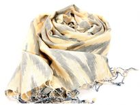 This lemon colored viscose scarf has artistic zig-zag like woven pattern in grey color. Thin twisted fringes at the ends of the scarf. Imported.