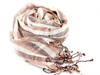 Lightweight & woven viscose scarf has earthy tones of brown & off-white. The scarf is made of yarn dyed viscose. Imported.