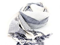 Off-white & navy woven viscose scarf is both soft & lightweight. Can match with many outfits & can be worn all year round. Imported.