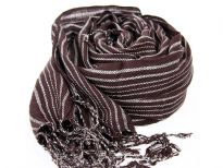 Long twisted fringe decorates the ends of this lightweight coffee colored viscose scarf with white stripes woven into it. Imported.