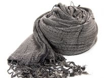 Long twisted fringe decorates the ends of a medium weight textured viscose scarf in deep brown color. Imported.