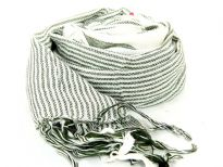 Ivory colored scarf has dark green stripes in different sizes with threads like fringes on the edges. Imported. Hand wash.