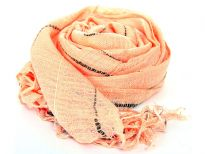 Orange open weave yarn dyed 100% viscose scarf with black stripes running through it. Sheer scarf has knotted fringes on its edges. Imported.