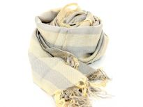 Yellow & Grey colored striped yarn dyed viscose scarf with loose threads like fringes at its edges. Imported.