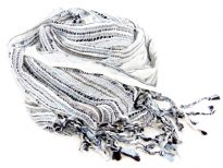 Yarn Dyed 100% viscose open weave scarf in light hues of ivory, sky blue & black colors. Twisted fringes at its ends. imported.