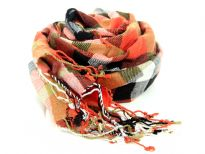 100% viscose yarn dyed scarf with multi colored checkered print in shades of orange, black & ivory. Imported.