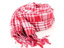 100% viscose yarn dyed scarf in red & white checkered print & twisted fringes at its ends. Imported.