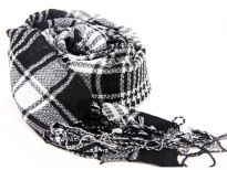 Black & white checkered print yarn dyed 100% viscose scarf with long twisted fringes on its edges.