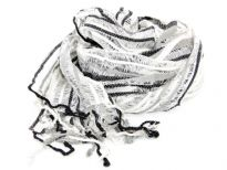 White open weave scarf in yarn dyed 100% viscose with black & grey stripes running through it. Sheer scarf has twisted fringes on its edges. Imported.