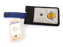 German made 100% wool felt La Lakers iPhone case with genuine leather flap. Made in USA. Minimum order 12 pieces.