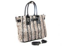 Animal Print rhinestones studded bag. The has bag double handle, adjustable shoulder strap and top zipper closing.