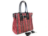 Animal Print Rhinestones studded bag. The bag has double handle, top zipper closing and adjustable shoulder strap.
