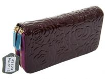 Genuine Leather(Exterior) flower embossed 2 zipper ladies wallet