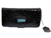 Genuine Leather (Exterior) flower embossed ladies wallet
