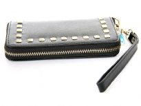 Studded all round zipper ladies leather wallet