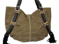 Laux Leather Double Handle Bag. Top zipper closing. Back zipper pocket.