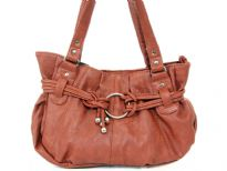 Double Handle PU Fashion handbag, top zipper closure