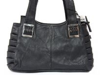 Faux Leather Fashion Handbag. Top zipper closing. Back outside zipper pocket.