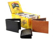Assorted wallets with crocodile, lizard, ostrich embossed exterior. This is a dozen pack mixed bi-fold, tri-fold, black, brown, tan, etc.  The box containing the dozen wallets converts into a counter display. The exterior is 100% genuine leather, the interior is man-made leather.