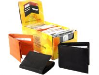 Assorted cowhide bi-fold and tri-fold wallets. This is a mixed colors dozen pack. The box containing the dozen wallets converts into a counter display.