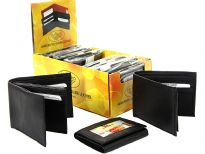 Assorted soft bi-fold and tri-fold lambskin wallets. The box containing dozen wallets converts into a counter display.