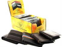 Assorted styles genuine leather men wallets.This is a dozen pack mixed colors. The box containing dozen wallets converts into a counter display. The wallets may differ from the ones pictured.