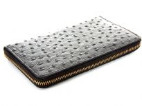 Ostrich embossed genuine leather ladies zipper wallet