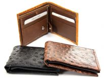 Ostrich embossed genuine leather bi-fold men wallet
