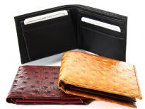 Carry your money in style. This is a Ostrich embossed genuine cow leather bifold mens wallet. The outside shell is genuine cow-hide leather and the inside is faux leather. As this is genuine leather, please be aware that there will be some small creases and nicks in the leather but the wallet are all brand new.