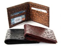 Carry your money in style. This is an Ostrich embossed genuine leather bi-fold men wallets. As this is genuine leather, please be aware that there will be some small creases and nicks in the leather but the wallet are all brand new.