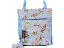 Printed jacquard shopping bag. Top zipper closing.