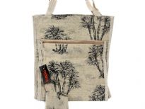 Jacquard Shopping Bag. Top zipper closing. The bag has double handle.