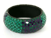 Beautiful wide cuff fashion bangle has small mirrors in green & purple making a floral pattern all over the bangle. Made of Resin and is very lightweight.