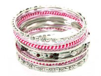 This 15 pieces set of fashion bangles includes one wide patterned bangle with deep red beads on it, 2 bangles have two-tone fabric on it, 2 have metal floral pattern on it & rest have glitter.