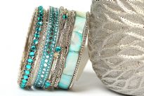 Bollywood Bohemian Fashion Bangle Bracelet set of 9. Handcrafted by expert artisans. Durable and high quality construction.
