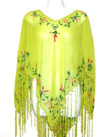100% Rayon Material Poncho Top with Painted flowers around its neckline and borders and also shiny long hanging thread fringes along its border. Imported.