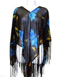 Blue floral print 100% rayon material poncho top in black color. Hanging long fringes in satin threads on the edges. Imported.