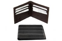 Carry your money in style. This is a double bill genuine leather bi-fold mens wallet. This  brand wallet is made of high quality cowhide. Wallet has slot for SIM card. There are 6 slots for various cards.  As this is genuine leather, please be aware that there will be some small creases and nicks in the leather but the wallet are all brand new.