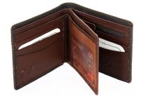 This is a genuine leather Bi-Fold mens wallet. This HOLBORO brand wallet is made of high quality cowhide. Wallet has middle see through flap for placing ID card and various slots for credit cards, etc. There is also a zipper slot. As this is genuine leather, please be aware that there will be some small creases and nicks in the leather but the wallet are all brand new.