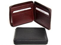 Carry your money in style. This is a genuine leather RFID Blocking bi-fold men zippered wallet with 9 credit card slots, one ID window. High quality genuine leather is durable and soft to the touch. As this is genuine leather, please be aware that there will be some small creases and nicks in the leather but the wallet are all brand new.