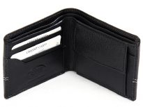 Carry your money in style. This is a genuine leather mens wallet with elegant stitch design. The wallet features 3 credit card slots, 1 Snap Lock Coin Slot and double bill bifold design. As this is genuine leather, please be aware that there will be some small creases and nicks in the leather but the wallet are all brand new.
