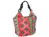 Printed Fabric double handle shoulder bag. Top zipper closing.