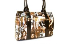 Printed PVC Handbag. Double handle and top zipper closing.