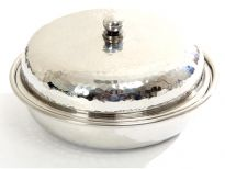 Hammered Stainless Steel Round Dish