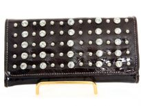 Rhinestones studded check book wallet