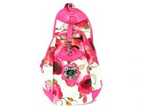 Betty Boop Licensed Printed PVC BackPack made of fabric. Has zipper closure and single adjustable strap.