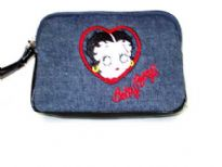Denim Pouch Bag with Betty face